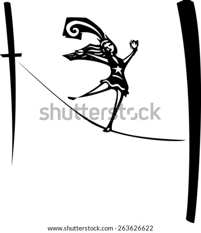 Woodcut style image of a circus performer walking a tightrope. - stock vector