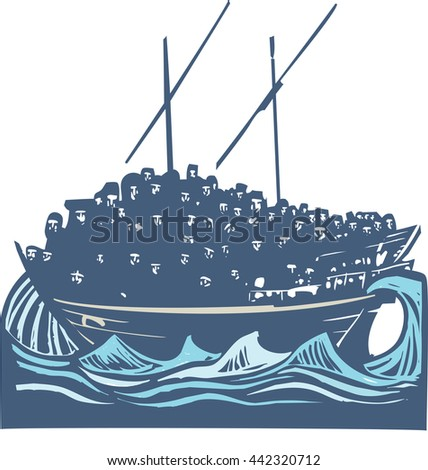 Woodcut style image of a crowd of refugees an a traditional Arabic ship called a Dhow