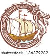 Woodcut style image of a dragon encircling a pirate ship. - stock photo
