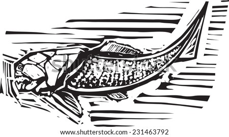 Woodcut style image of a Dunkleosteus an armored ancient fossil fish - stock vector