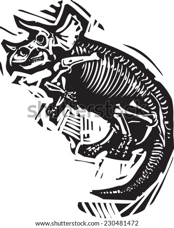 Woodcut style image of a fossil of a Triceratops dinosaur skeleton - stock vector