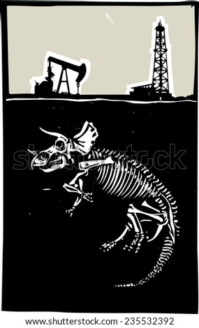 Woodcut style image of a fossil of a Triceratops dinosaur with an oil rig and pump jack. - stock vector