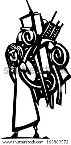 Woodcut style image of a girl with a large backpack full of things. - stock vector