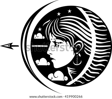 Woodcut style image of a girl with stars clouds at night with Bow and arrow - stock vector