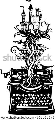 Woodcut style image of a manual typewriter with a castle on a beanstalk growing out of it - stock vector