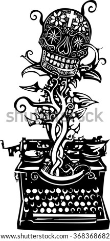 Woodcut style image of a manual typewriter with a skull growing out of it