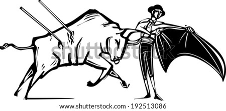 Woodcut style image of a matador and a wounded bull in a bullfight - stock vector