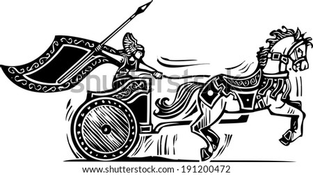 Woodcut style image of a Norse viking Valkyrie riding a chariot. - stock vector