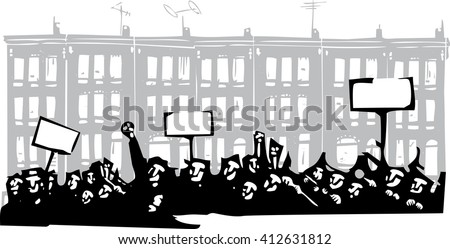 Woodcut style image of a riot or protest in front of Baltimore Row houses - stock vector