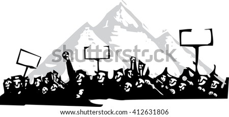 Woodcut style image of a riot or protest in front of the Pyramids of Egypt  - stock vector