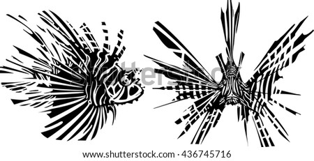 Woodcut style image of a tropical lionfish from the front and side - stock vector
