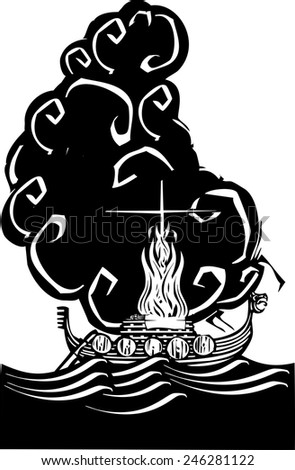 Woodcut style image of a Viking Chief being burned on a longboat. - stock vector