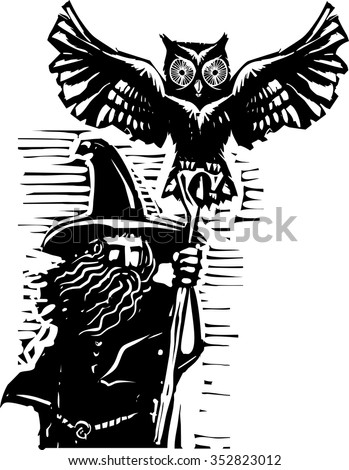 woodcut style image of a wizard holding a staff and an owl familiar.