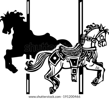 Woodcut style image of a wooden carousel horse in two directions - stock vector
