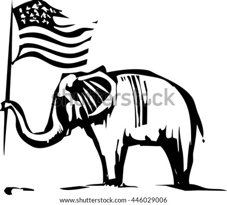 Woodcut Style image of an Elephant waving an American flag - stock vector