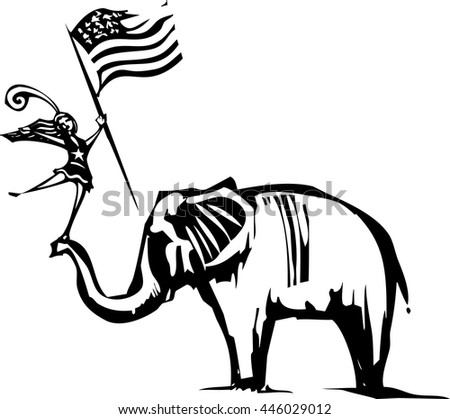 Woodcut Style image of an Elephant with a cheer leader waving an American flag