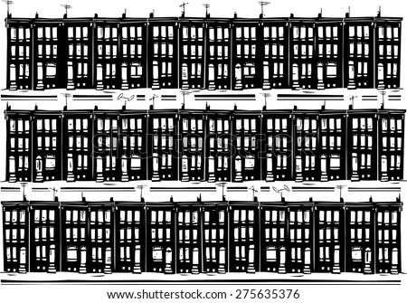 Woodcut style image of Baltimore urban ghetto row homes. - stock vector