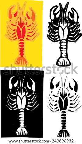 Woodcut style image of lobster or crayfish in different layouts. - stock vector