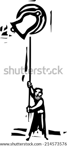 Woodcut style image of man ringing a traditional church bell. - stock vector