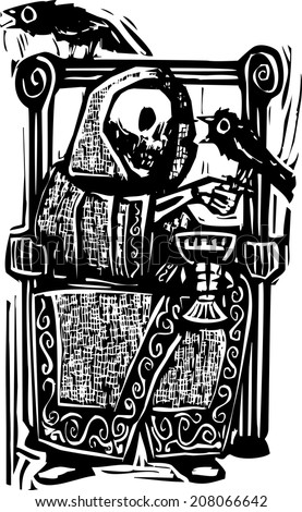 Woodcut style image of the skeleton death drinking wine in a throne with crows or ravens.