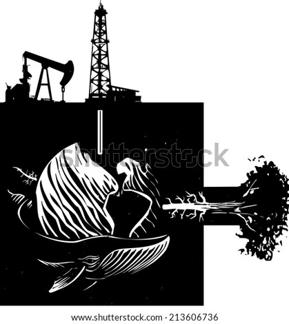 Woodcut style image the earth with images of industry, nature and wildlife. - stock vector