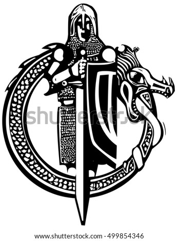 Woodcut style medieval knight in a dragon circle.