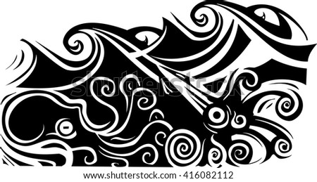 Woodcut style octopus and squid beneath the waves. - stock vector