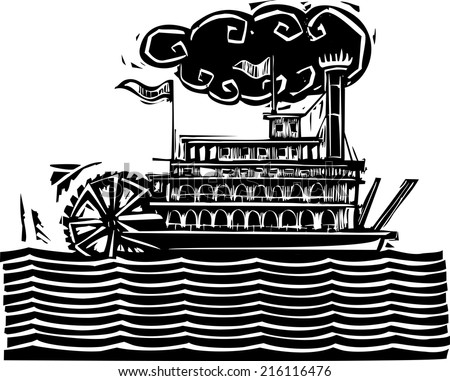 Woodcut style side wheel Mississippi river steamboat on stylized waves. - stock vector