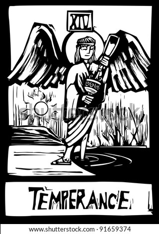 Woodcut style Tarot card for the image of Temperance - stock vector