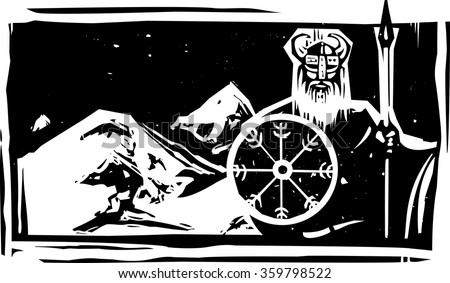 Woodcut style viking with shield guarding snowy Asgard - stock vector