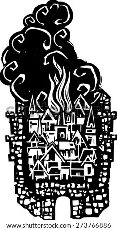 Woodcut style walled Medieval city on fire   - stock vector
