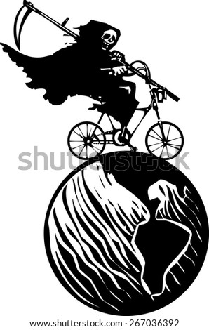 Woodcut styled image of a hooded wraith or death riding a bicycle around the earth