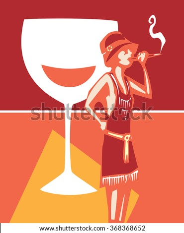 Woodcut syle image of a woman in a flapper dress smoking and a wine glass - stock vector