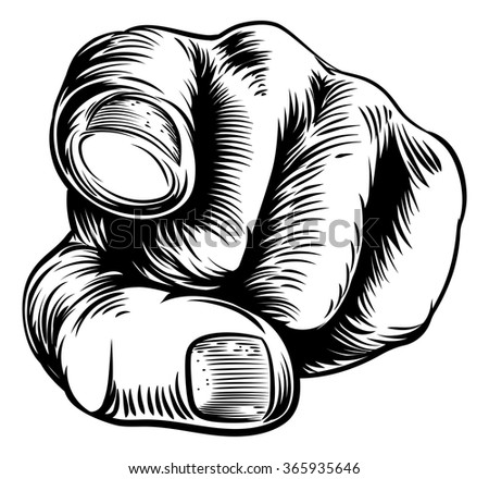Woodcut vintage style hand pointing a finger at you in a wants you or needs you gesture - stock vector