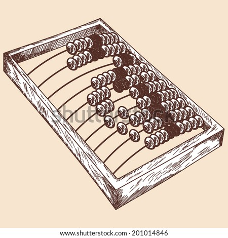 Wooden abacus sketch. EPS 10 vector illustration without transparency.  - stock vector