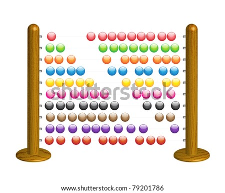 Wooden abacus with shining glass beads - vector illustration - stock vector