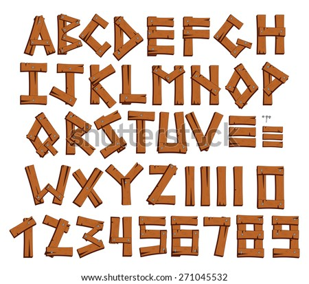 Wooden alphabet and digits, vector font. - stock vector