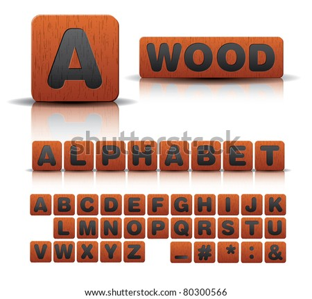 wooden alphabet set - stock vector