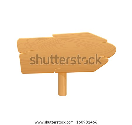 Wooden Arrow Board Icon On White Background - stock vector