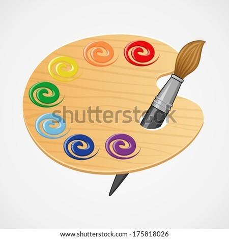 Wooden art palette with brush. - stock vector