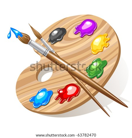 Wooden art palette with paints and brushes - stock vector
