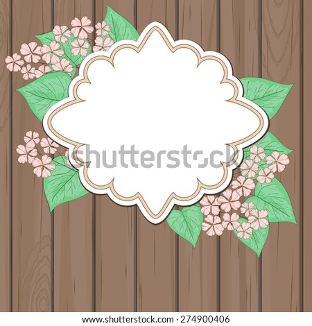 Wooden background with blank label and pink flowers - stock vector