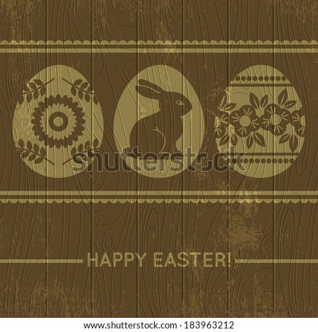 wooden background with easter eggs, vector illustration - stock vector