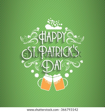 Wooden background with St.Patrick day. Saint Patrick's Day Typographic Background - stock vector