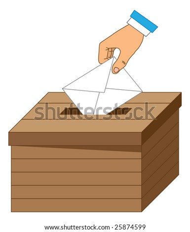 Wooden ballot box with a vote letter. - stock vector