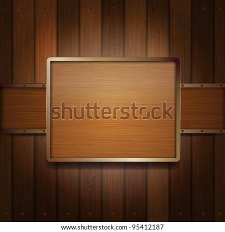 Wooden banner - stock vector