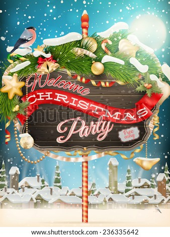 Wooden banner with Christmas Fur-tree branches. EPS 10 vector file included