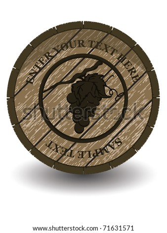 wooden barrel for wine with shadow vector design or card