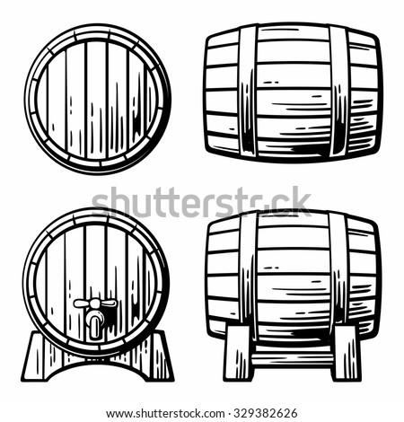 Wooden barrel set. Black and white vintage vector illustration for label, poster, web, icon. - stock vector