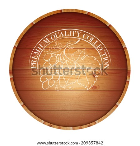 Wooden barrel with vine label isolated on white background. Vector illustration. - stock vector